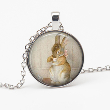 Fashion Cute Peter Rabbit Beatrix Potter Logo Glass Pendant Necklace Storybook Fantasy Retro Party Female Jewelry Gifts Souvenir