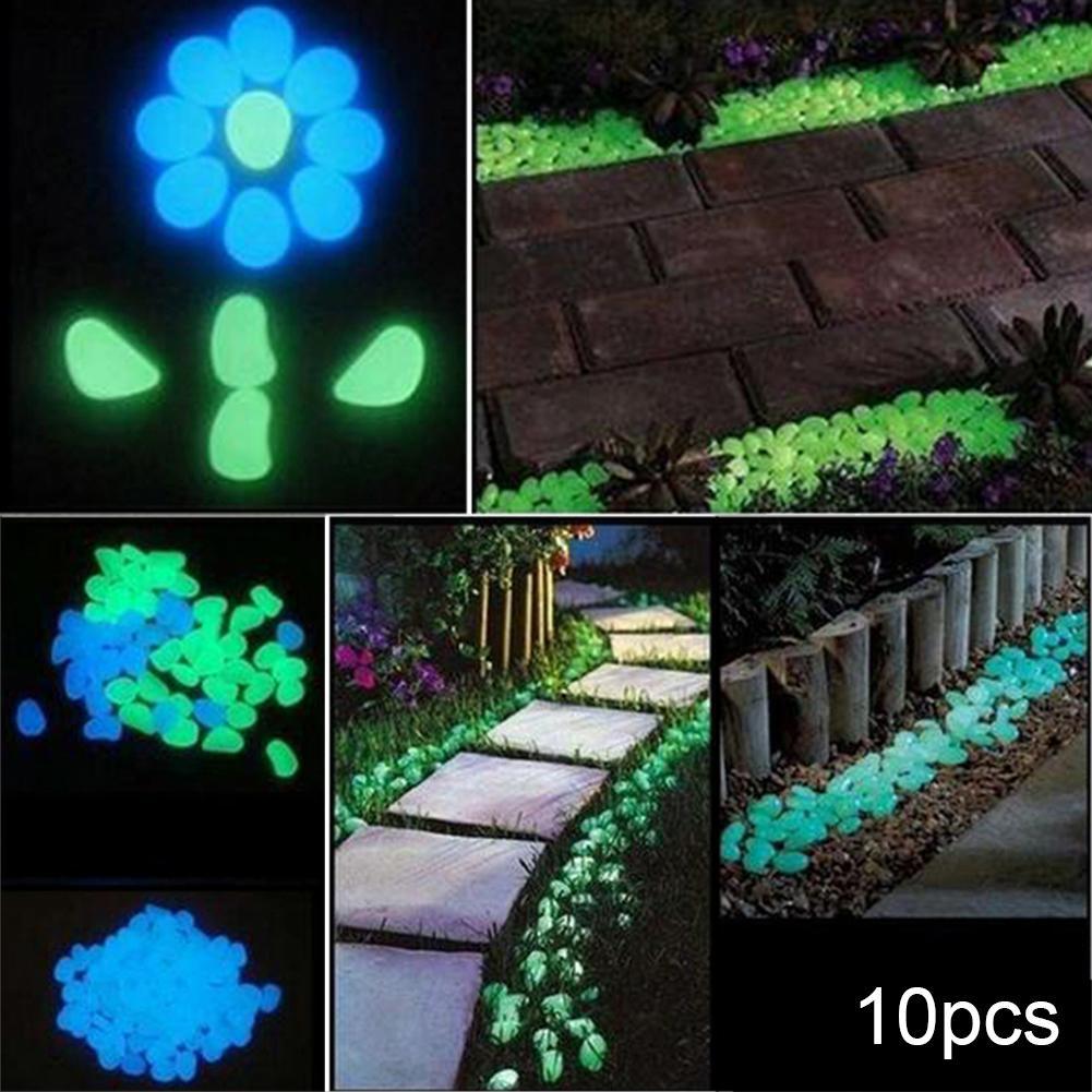 10Pcs Luminous Pebbles In The Dark Glow Artificial Stones Decorative Garden Walkways Rocks Aquarium Ornament Bonsai Garden Decor