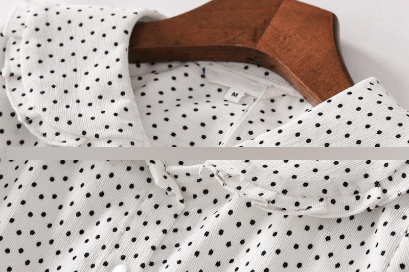 O150 rétro chemise en velours côtelé femme printemps nouveau Style doux col claudine coupe ajustée chemise à pois hauts pour femmes