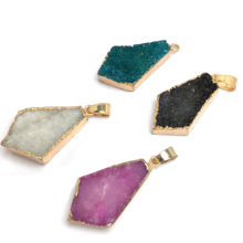 New Fashion 4 Colors Crystal Pendants & Necklace Geometric Shape Natural Gems Stone Pendant for Jewelry Making Fit necklace