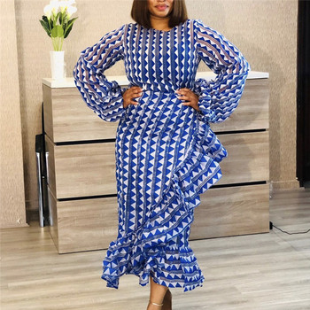 Women Blue Printed Dress Ruffles with Waist Belt O Neck Long Lantern Sleeves Autumn Female Vestidos Fashion New Vestidos Robes 2015 vestidos o page 9