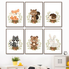 Fox Rabbit Bear Raccoon Hedgehog Squirrel Nursery Wall Art Canvas Painting Posters And Prints Wall Pictures Baby Kids Room Decor