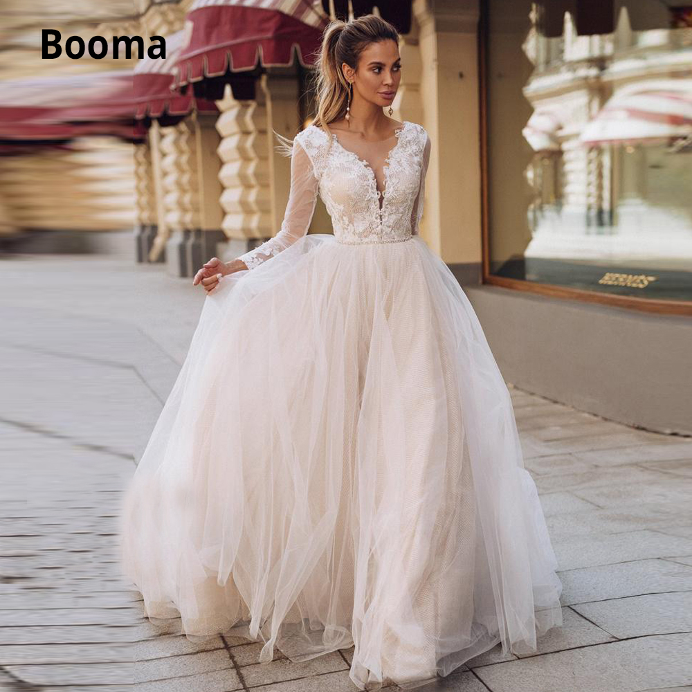 Booma Lace Wedding Dresses Boho 2019 Long Sleeve V-neck Bridal Gown White Ivory Tulle Wedding Gown Open Back Wedding Gown