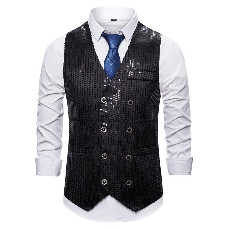 Black Sequins Double Breasted Vest Men Brand Nightclub Suit Vest Men Waistcoat Wedding Groom Dress Vests For Men Chaleco Hombre