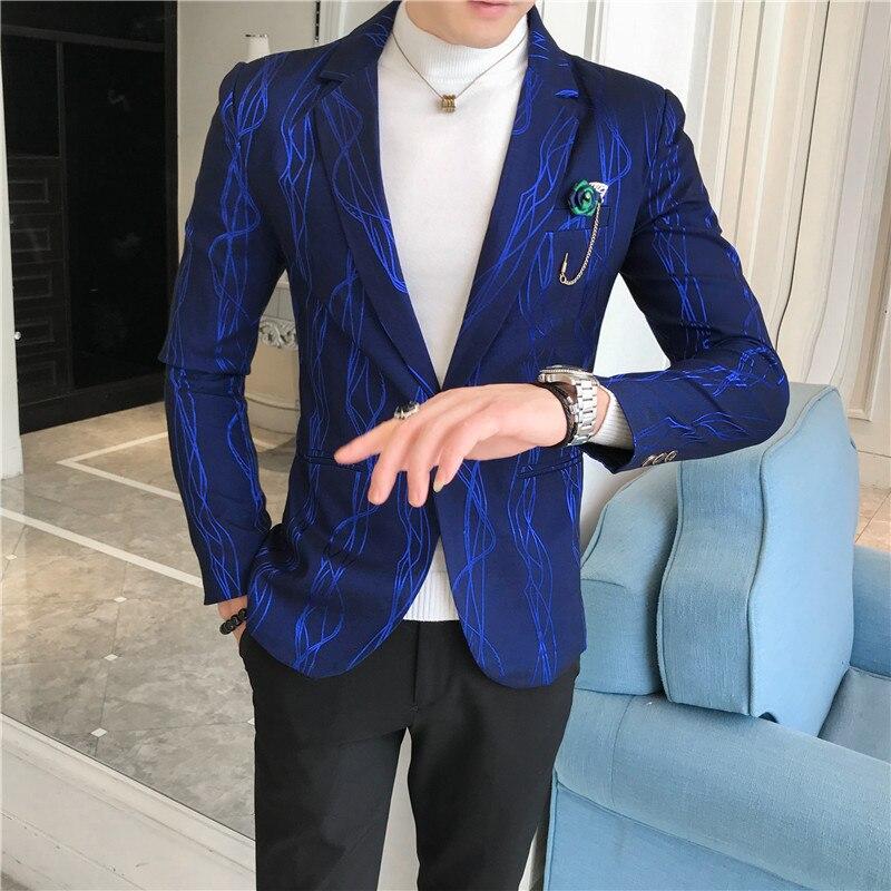 Personality Gilding Stripe Blazers Men Blazer Homme  Vestidos De Novia Mens Office Jacket Slim Fit Business Veste Homme Costume