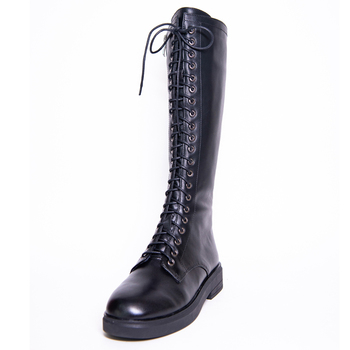 Leather Knee High Boots Women Autumn Winter Low Square Heel Ladies Cross Strap Shoes G283 Woman Lace Up Black Round Toe Boots woman genuine leather platform square heel knee high boots round toe side zipper dress winter boots black