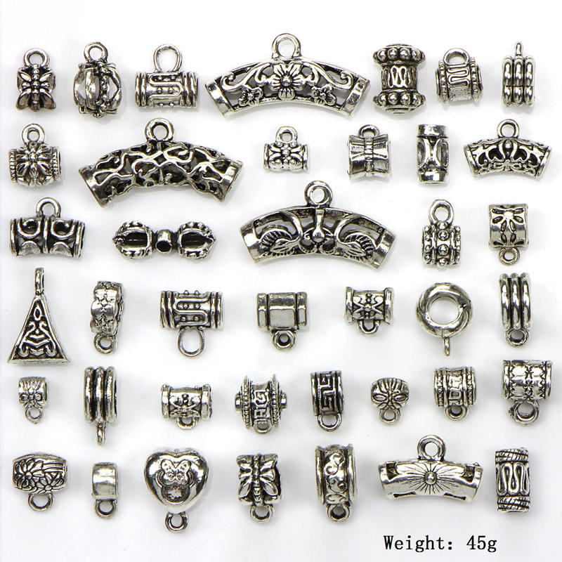 40pcs/set Antique Silver Connector Charms Bail Beads Pendant Clasp Necklace Connector Diy Jewelry Making Bracelet Accessories