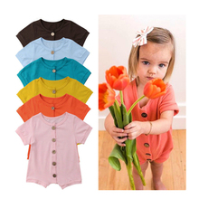 цены на Brand New Newborn Toddler Infant Baby Girl Boy 100% Cotton Romper Jumpsuit Solid Playsuit Outfit Casual Summer Clothes 45 в интернет-магазинах