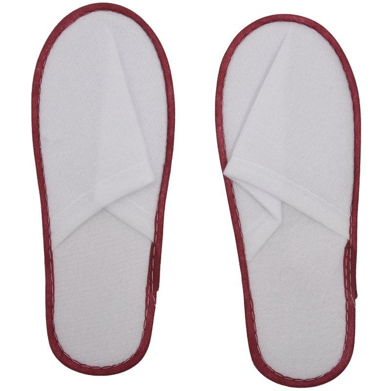 descartáveis terry spa sapatos de hóspedes branco + vermelho