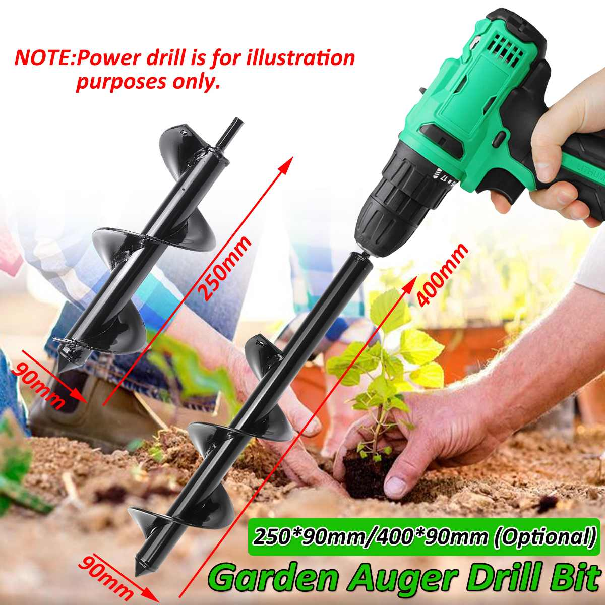 90mm Earth Auger Hole Digger Tool Garden Planting Machine Drill Bit Fence Borer Post Post Hole Digger Garden Auger Yard Tool