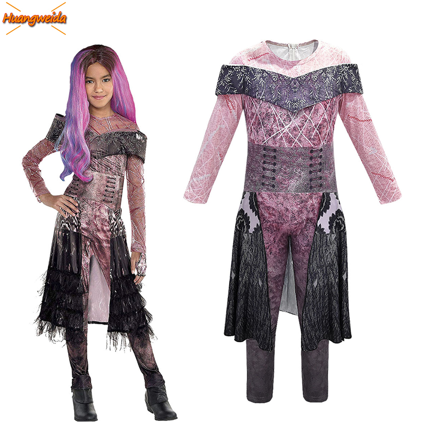 Halloween-Costumes Dress-Up Descendants Fancy Girls Cosplay Jumpsuits Party for Kids