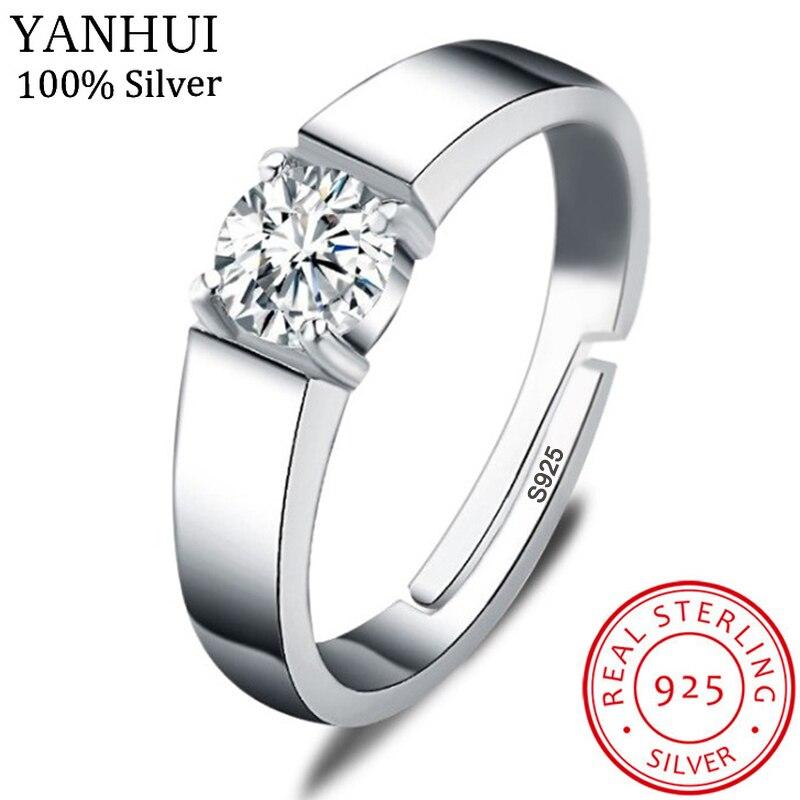 YANHUI luxe hommes Original 925 solide argent redimensionnable anneau 5mm 0.75ct Diamant bague de mariage ouverture peut être ajustée taille MJZ043