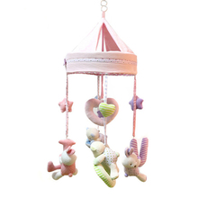 Rabbit Colorful Newborn Mobile Baby Bed Bell baby toys  calm   rotating fluid bed 0 12 months Plush toy WJ330