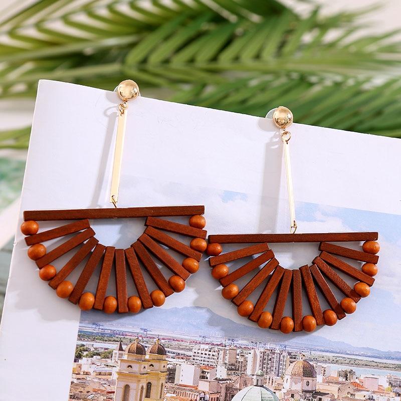2020 Fashion Boho Round Square Geometric Wooden Drop Earrings For Women Bohemian Vintage Wood Beaded Dangle Earring Jewelry Gift