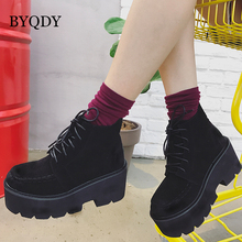 BYQDY Fashion Flock Autumn Ankle Boots For Women Motorcycle Chunky Heels Casual Lacing Round Toe Platform Mother Booties
