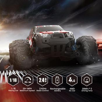 DEERC RC Car Electric 1:18 Scale 30+ MPH 4WD Off Road Monster Trucks All Terrain 40KM/H High Speed Racing Car Toy For Children 2