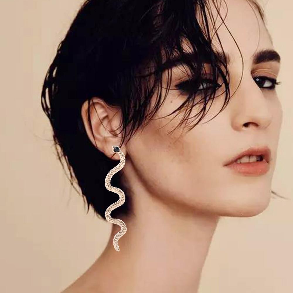 1 Pair Exaggerated Long Serpentine Snake Tassel Stud Earrings Semi-Precious Stone Earrings For Women Jewelry  Earrings
