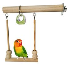 Bird Swing Toy Wooden Parrot Perch Stand Playstand with Chewing Beads Cage Sleeping Stand Play Toys for Budgie Birds C42