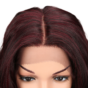 """Image 5 - M 20 """"นิ้ว Ombre GOLD Dark สีแดงวิกผมหยักยาวคอสเพลย์วิกผมลูกไม้ด้านหน้าลูกไม้วิกผมสำหรับผู้หญิงสีดำหลวม WAVE Wigs"""