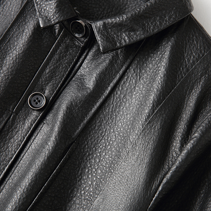 Simple Genuine Leather  Women Long Sheepskin Trench Coat Classic Black Office Fashion Real Leather Turn-down Collar Jackets