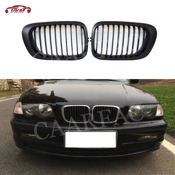 ABS Front Kidney Double Slat Grill Mesh Grille Frame Covers For BMW 3 Series E46 4 Door 2Door Coupe 318I 320I 325I 1998-2001 image