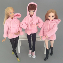 Pink Sweatshirt Coat For Barbie Dolls Clothes Clothes For Barbie Doll Outfits Leather Pants Canvas Shoes 1/6 Doll Accessories 2pcs lot doll stand display holder for barbie dolls doll accessories doll support leg holders transparent