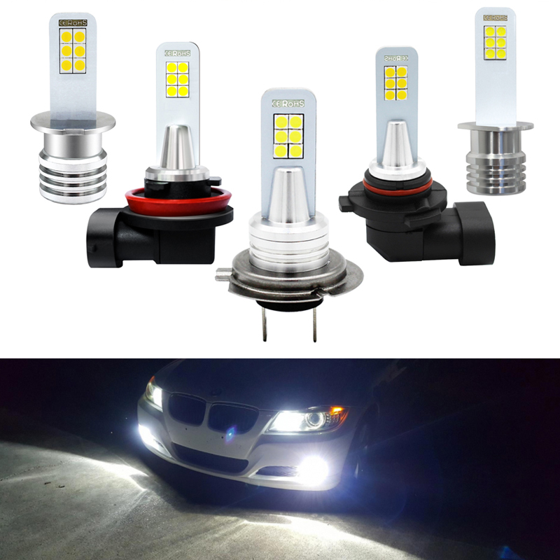 Led-Bulbs Driving-Light Auto-Lamps Cars White 6000K H3 H1 H8 HB4 H7 2x 9006 3030