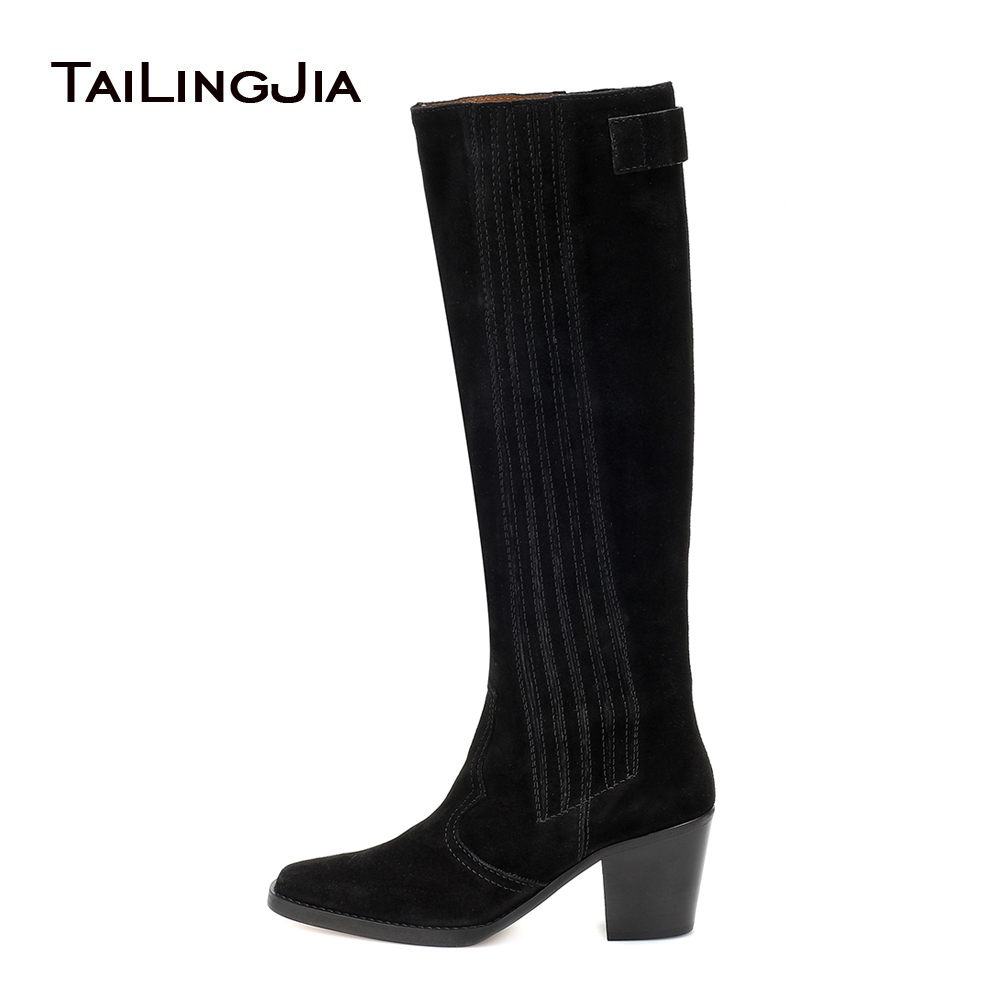 Knee High Texas Boots Block Heel Cowboy Boots For Women 2019 Black Western Woman Long Tall Boot Ladies Square Toe Winter Shoes