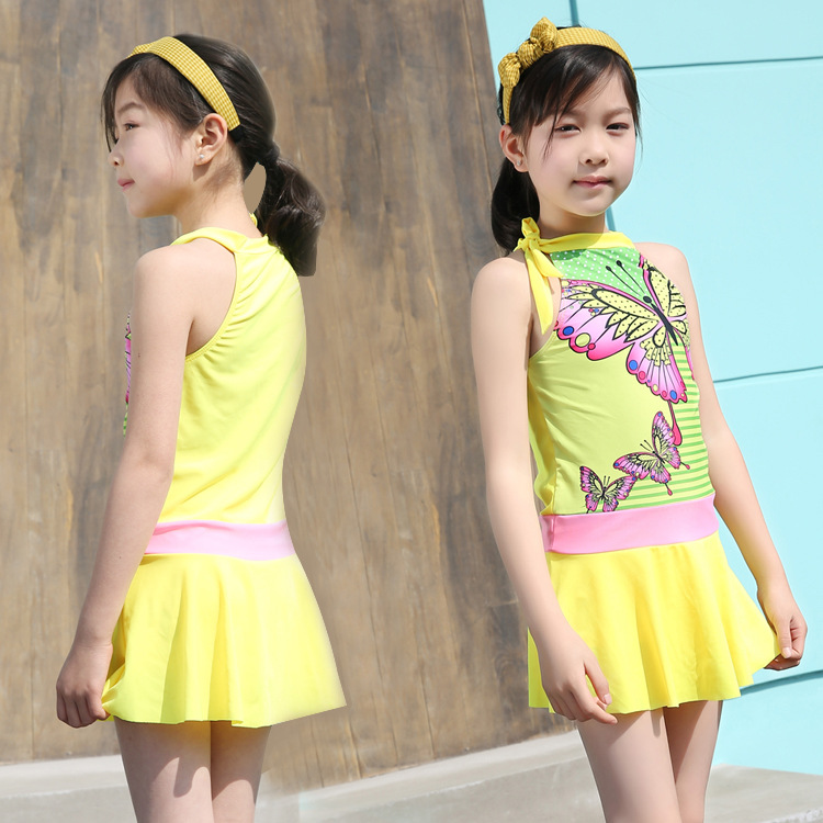 Chinlon KID'S Swimwear Girls Korean-style Split Skirt-Big Boy Tour Bathing Suit Princess South Korea GIRL'S Students Swimwear