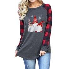 Рождественские Графические футболки с длинным рукавом милая