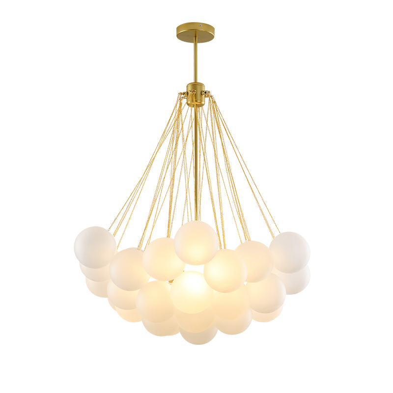Bubble Chandelier 19/37 Balls Black Gold Chandeliers Mid Century Modern Glass Lamp for Dining Room Living Room Decoration