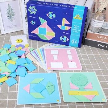 Per bambini Di Puzzle Geometria di Accoppiamento 3D Personalità Di Puzzle 20 Double-sided Carta di Apprendimento Precoce Genitore-bambino Gioco Interattivo
