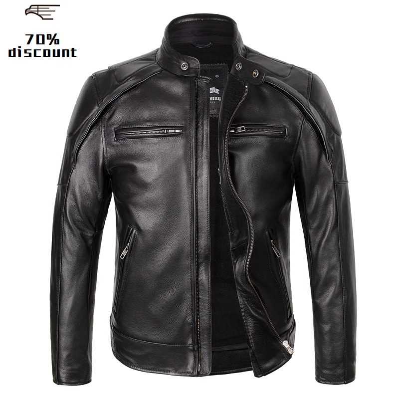 2020 Black Men American Motorcycle Leather Jacket Plus Size XXXL Genuine Thick Cowhide Spring Slim Fit Biker's Leather Jacket