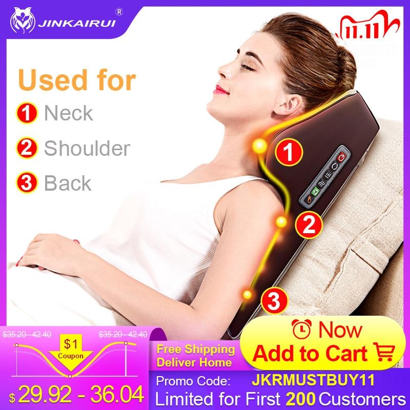 Jinkairui Neck Massager Car Home Cervical Shiatsu Massage Neck Back Waist Body Electric Multifunctional Massage Pillow Cushion Massage Cushion  - AliExpress