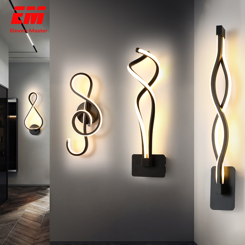 Modern Minimalist Wall Lamps Living Room Bedroom Bedside 16W AC85V-265V LED Sconce Black White Lamp Aisle Lighting Decor ZBD0030