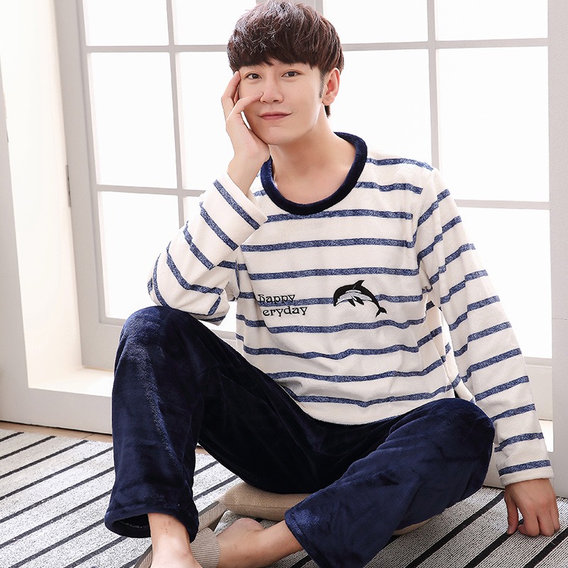 Pajama Set Men O-neck Long Sleeve Striped Comfortable Warm Flannel Mens Pajamas Plus Size XXXL Korean Style Home Clothing Casual