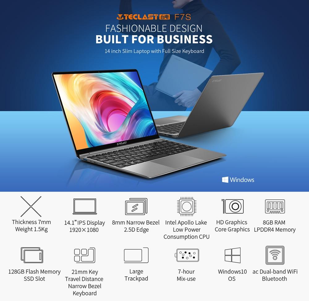 "Newest Laptops Teclast F7S 14.1"" 1920x1080 IPS Notebook 8GB RAM 128GB eMMC Windows 10 OS Dual-band WiFi Bluetooth Computer-2"