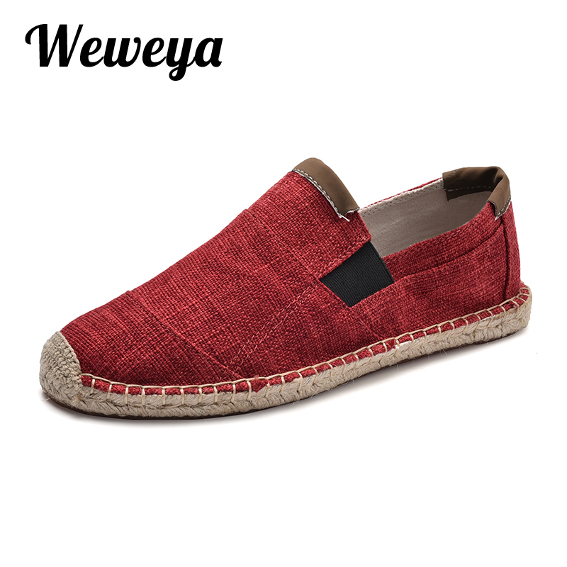 Weweya Mens Shoes Casual Male Breathable Canvas Shoes Men Chinese Fashion 2019 Soft Slip On Espadrilles For Men Loafers