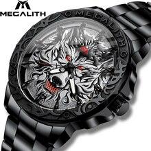 2020 새로운 시계 남자 MEGALITH 늑대 머리 양각 석영 시계 남자 스포츠 방수 스테인레스 스틸 손목 시계 Relogio Masculino