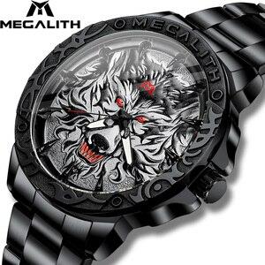 Image 1 - 2020 새로운 시계 남자 MEGALITH 늑대 머리 양각 석영 시계 남자 스포츠 방수 스테인레스 스틸 손목 시계 Relogio Masculino