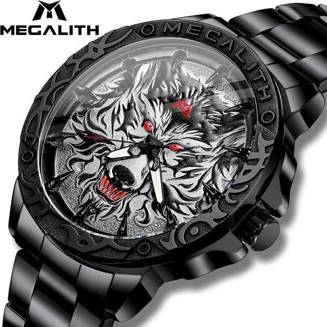 2020 New Watch Men MEGALITH Wolf Head Embossed Quartz Watch Men Sport Waterproof Stainless Steel Wrist Watches Relogio Masculino