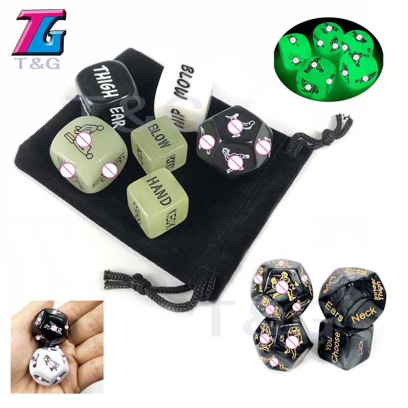 6pcs/set Sex Dice Set Drink Glow Erotic Craps Night Lights Love Sexy Funny Flirting Toys For Couples