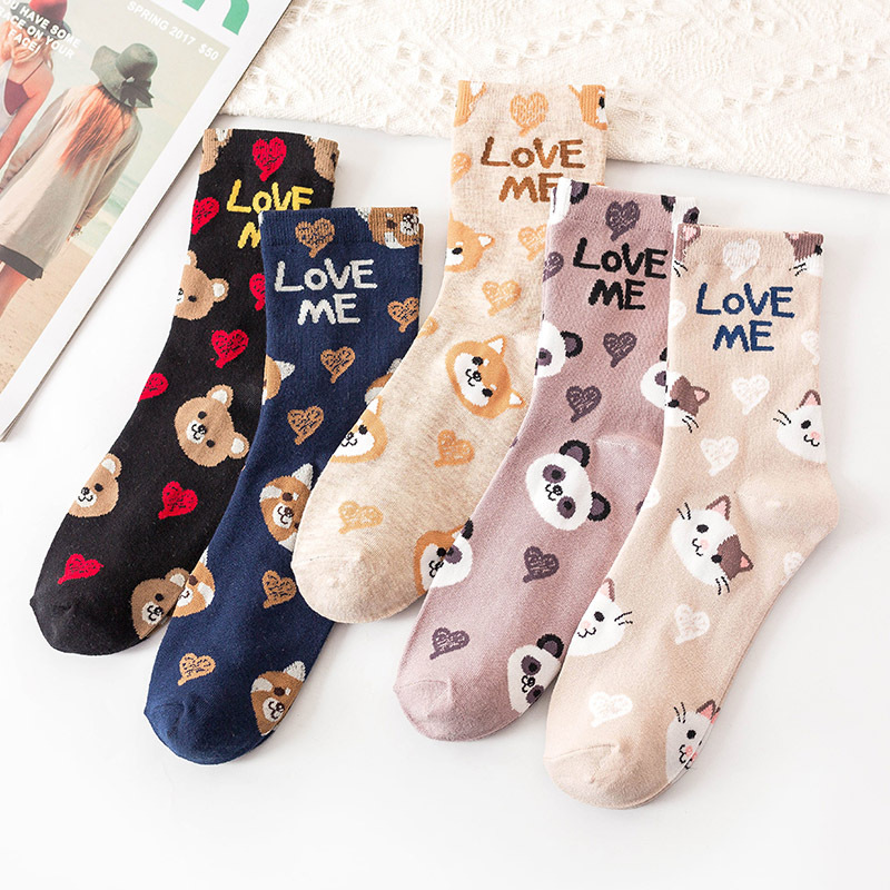 2020 Spring New Women Printed Socks Cute Cartoon Animal Dog  Heart Letters Inscription Black Cotton Funny Socks For Female