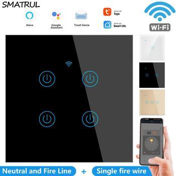SMATRUL WiFi Touch Glass Wall Switch Light No Neutral Wire EU UK 1/2/3/4 Gang 220V Smart Life  APP Timer Tuya Google Home Alexa - discount item  60% OFF Electrical Equipment & Supplies