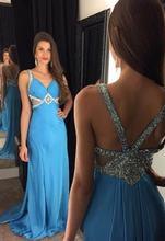 Сексуальное платье с v образным воротом а силуэт длинный синий