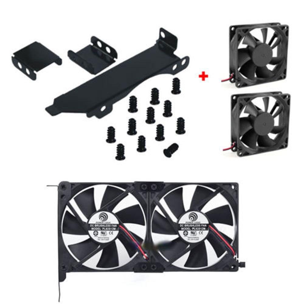 Dual Fan Mount Rack PCI Slot Bracket For Video Card +2 80MM/90MM PC Case Fan