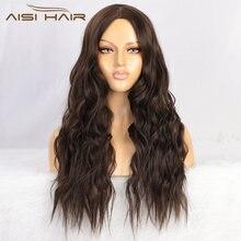 Волосы aisi 26 дюймов парик из натуральных волн средняя часть