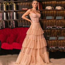 Tiered Prom Dress Long A Line Party Dress Girl Gown Sweetheart Neck Bead Pearls Bodice Tulle Evening Dress Plus Size Fairy
