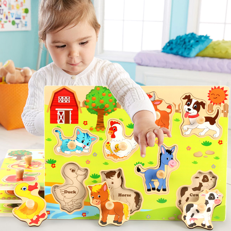 Children's Animal Fruit Wooden Puzzle Board Toys No Burrs Baby Wood Puzzles Forest/Marine/Farm Etc 8 Style Classic Puzzles Toy