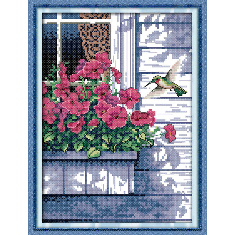 Everlasting love Hummingbird chinese Cross stitch kits Ecological cotton stamped printed 11CT 14CT DIY gift Christmas decoration
